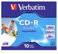 Verbatim CD-R 80/700MB 52X AZO WIDE PRINTABLE jewel box - 43 matricas