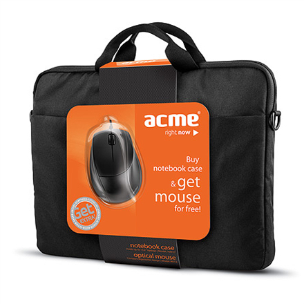 Acme 16M37 Notebook Case + MS13 Optical Mouse portatīvo datoru soma, apvalks