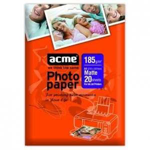 ACME Photo Paper A6 (10x15cm) 185 g/m2 20pack Matte foto papīrs