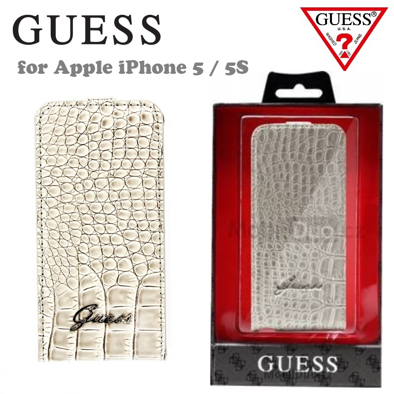 GUESS GUFLP5CRB Exclusive Beige Crocodile Flip Case maciņš, apvalks
