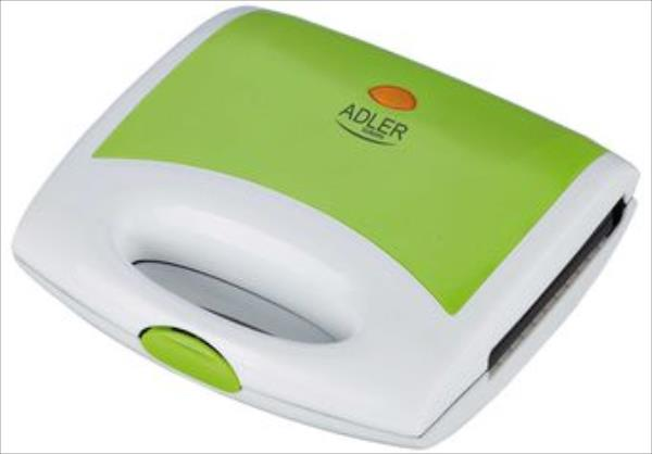 Adler AD 3020 Green, 750 W, Number of plates 1, 4 triangle sandwiches, Handle with lock Tosteris