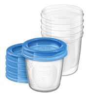 AVENT trauki ar vāciņiem krūts piena/ēdiena uzglabāšanai 180 ml (5gab) SCF619/05 bērnu barošanas pudelīte