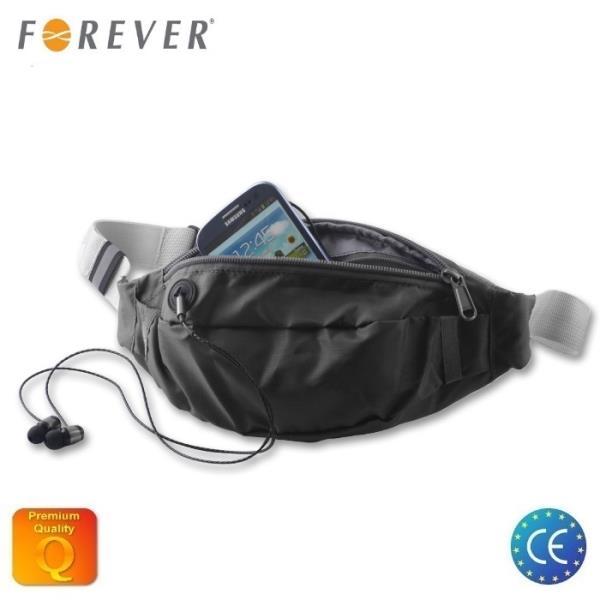 Forever GSM010629 Universāla (24x10cm iekšējie) Fitnesa un Skriešanas jostas somiņa Melna Viedais pulkstenis, smartwatch