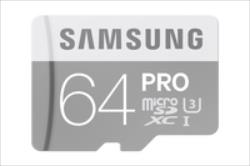 SAMSUNG 64GB, MICRO SDXC PRO, CLASS 10 WITH SD ADAPTER, Read up to 90MB/s, Write up to 80MB/s atmiņas karte