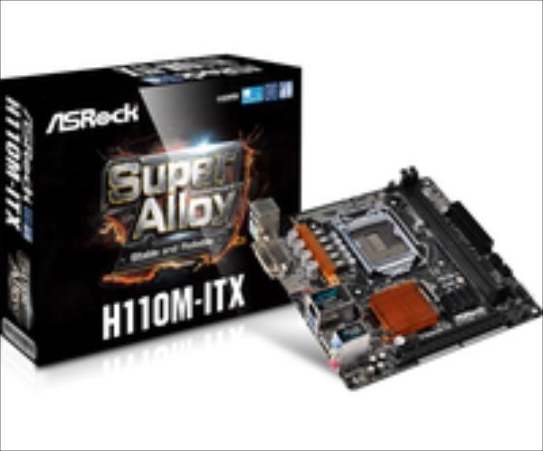 ASRock H110M-ITX, H110, DualDDR4-2133, SATA3, HDMI, DVI, mITX pamatplate, mātesplate