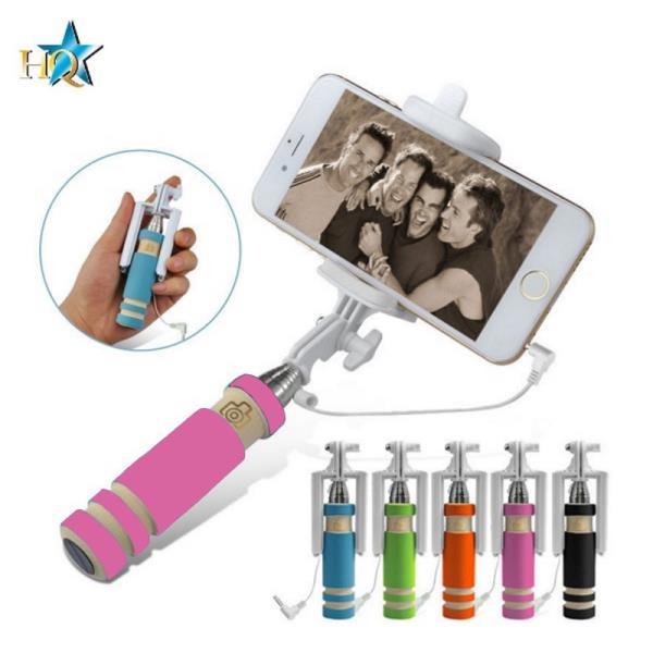 HQ X6-P Kabatas Selfie Stick 55cm Teleskopisks - Mini Stiprinājums ar vada kabeli un foto pogu rokturī Rozā aksesuārs mobilajiem telefoniem