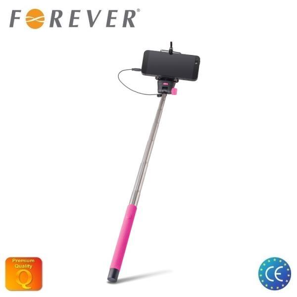 Forever MP-400 Bluetooth Selfie Stick 100cm - Universāla stiprinājuma statīvs ar iebūvētu Pulti Rozā