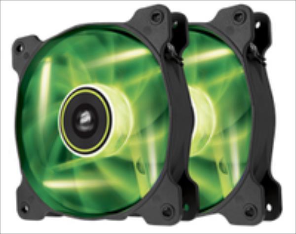 Corsair SP120 High Static Pressure 120 mm 3 pin green LED dual pack dzesētājs, ventilators