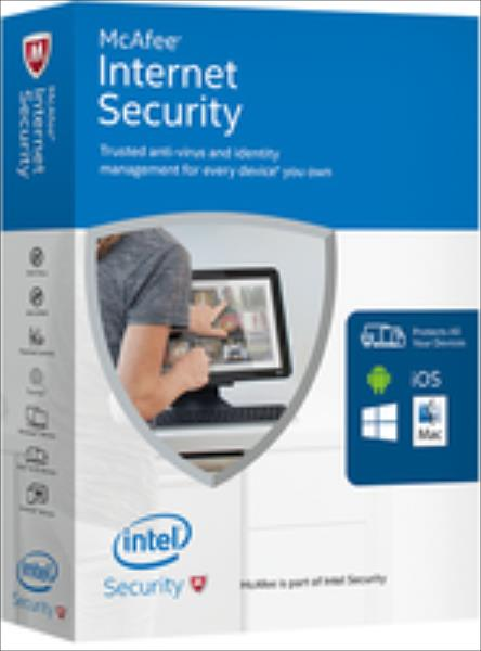 McAfee 2017 Internet Security 1 Device (Code in a Box) programmatūra