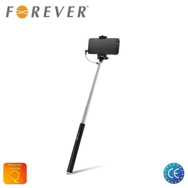 Forever MP-420 Kabatas Selfie Stick 61cm Teleskopisks - (fiksātors 5.5-8.5cm) ar 3.5mm Audio Jack un foto pogu rokturī Melns aksesuārs mobilajiem telefoniem