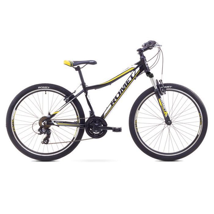 ROMET RAMBLER 26 JR MTB 15-S R26 MELNS-DZELTENS kalnu velosipēds MTB