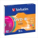 Verbatim DVD-R 4.7GB 16X 5pack AZO COLOUR slim box - 43557 matricas