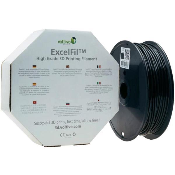 Voltivo ExcelFil 3D Druck Filament, PLA, 1,75mm - black 3D printēšanas materiāls