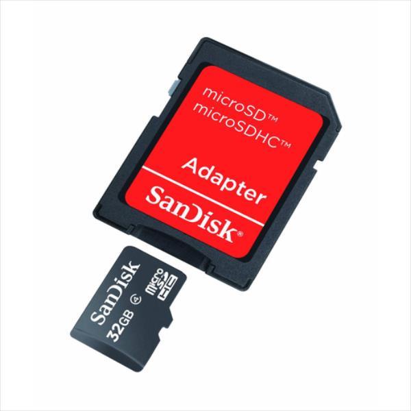 SanDisk microSDHC 32GB CL4 + Adapter atmiņas karte