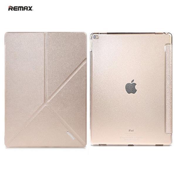 Remax Smart Super Plāns Eko-Ādas Sāniski Atverams maks ar Multi Statīv un  Auto On-Off Apple iPad Air 2 Zeltains planšetdatora soma