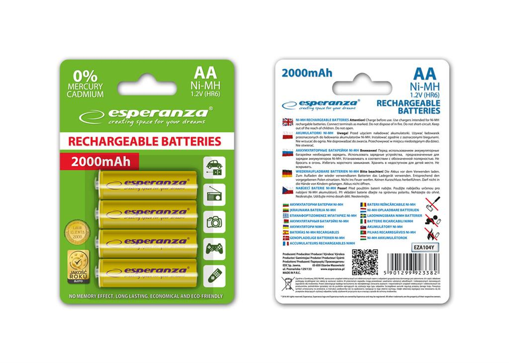 Esperanza EZA104Y RECHARGEABLE BATTERIES Ni-MH AA 2000MAH 4PCS - YELLOW Baterija