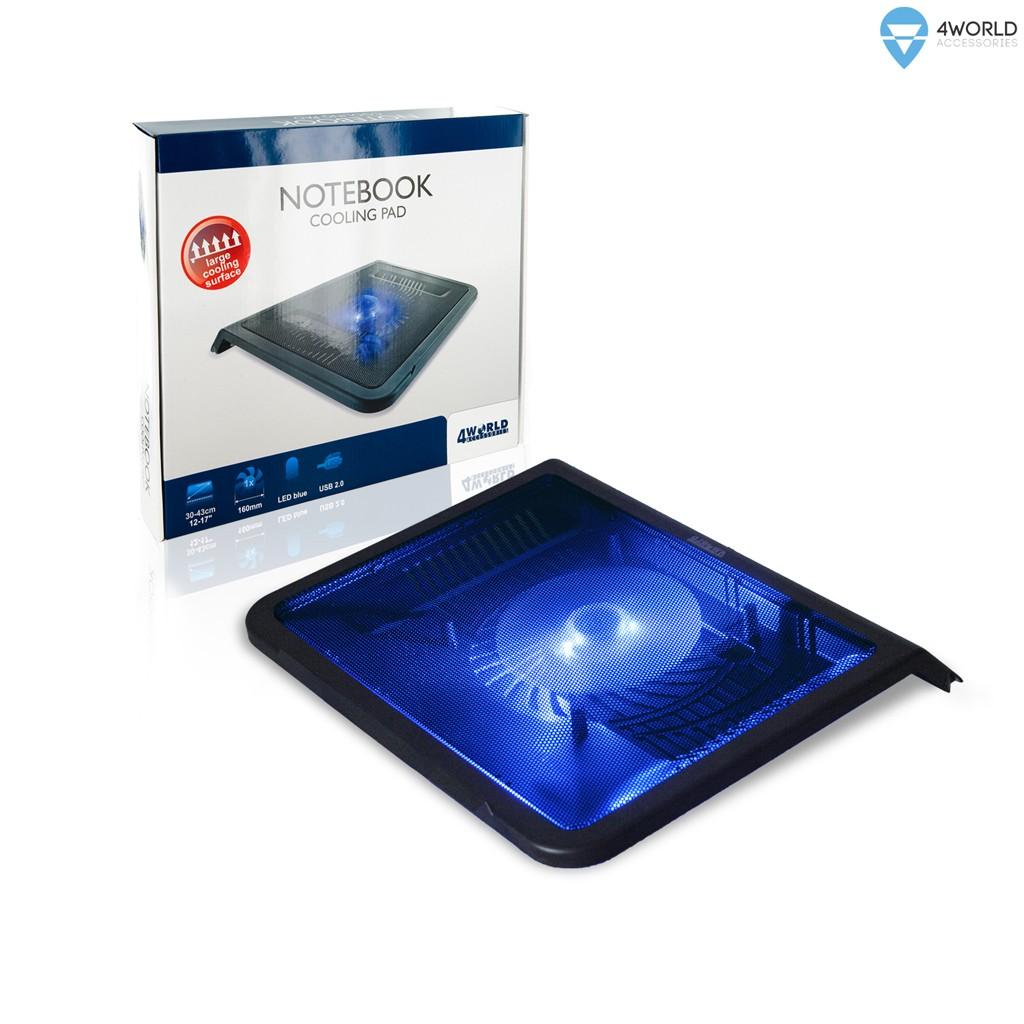 4World Notebook cooling pad for NB 13'' - 16'', 1 Fan portatīvā datora dzesētājs, paliknis