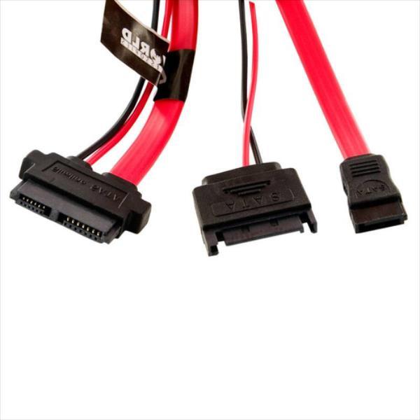 4World Cable | SATA 3 | 13pin SATA Slimline (F) - 7pin SATA (F) & 15pin SATA (M) kabelis, vads