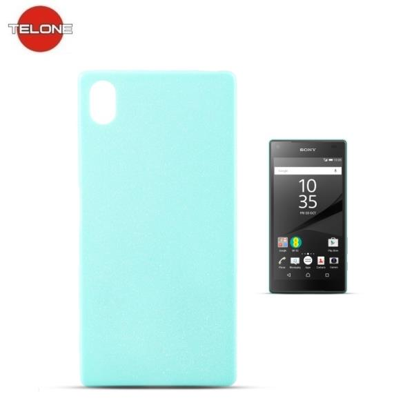 Telone Candy Super Plāns 0.3mm Silikongēla Telefona Apvalks ar spīdumiem Sony Xperia Z5 E6603 Gaīši Zils aksesuārs mobilajiem telefoniem