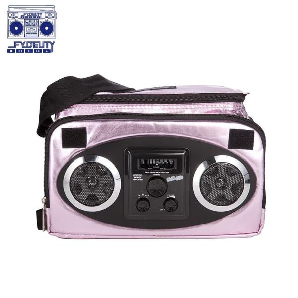 Fydelity X Mixid Chillout Cooler Termo Soma ar pleca siksnu un Skaļruņiem (28х20х20сm) Rozā portatīvo datoru soma, apvalks
