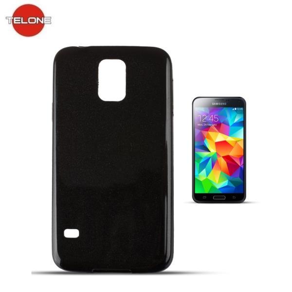 Telone Candy Super Plāns 0.3mm Silikongēla Telefona Apvalks ar spīdumiem Samsung G900 Galaxy S5 Melns maciņš, apvalks mobilajam telefonam