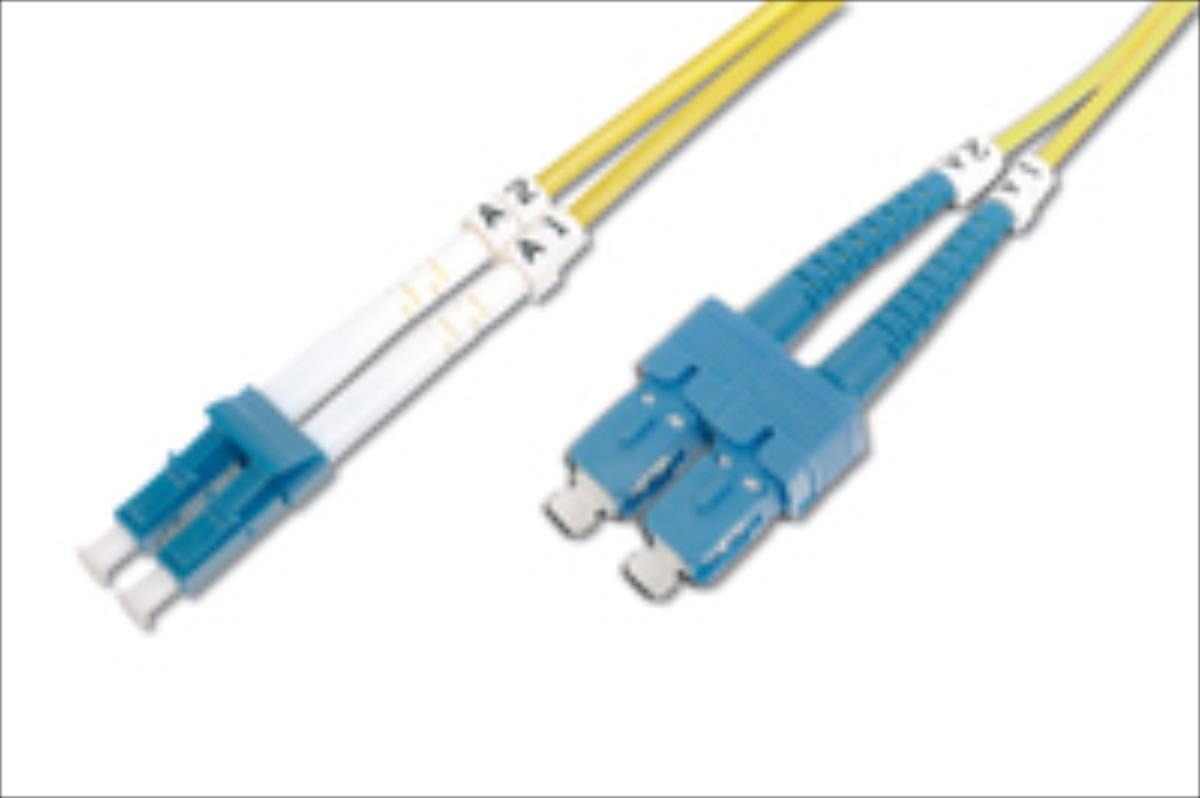 DIGITUS Fiber Optic Patch Cord, duplex SM 9/125 LC / SC 2m kabelis, vads