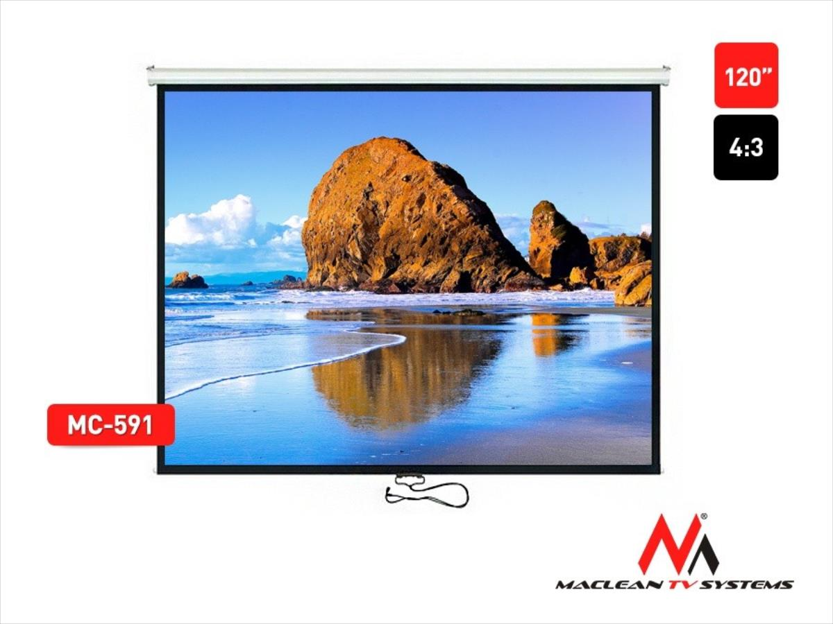 Maclean 120''   240x180cm 4:3 AUTO-LOCK ekrāns projektoram