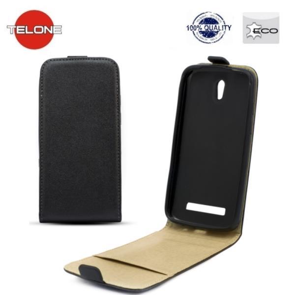 Telone Shine Pocket Slim Flip Case Motorola Moto G 3GEN XT1541 telefona maks vertikāli atverams Melns