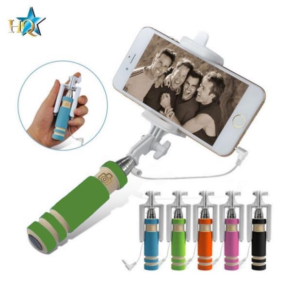 HQ X6-G Kabatas Selfie Stick 55cm Teleskopisks - Mini Stiprinājums ar vada kabeli un foto pogu rokturī Zaļš aksesuārs mobilajiem telefoniem