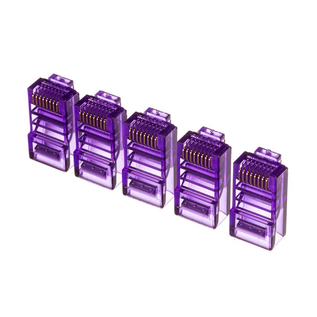 Netrack plug RJ45 8p8c, UTP for solid cable, cat. 5e (100 pcs.), violet