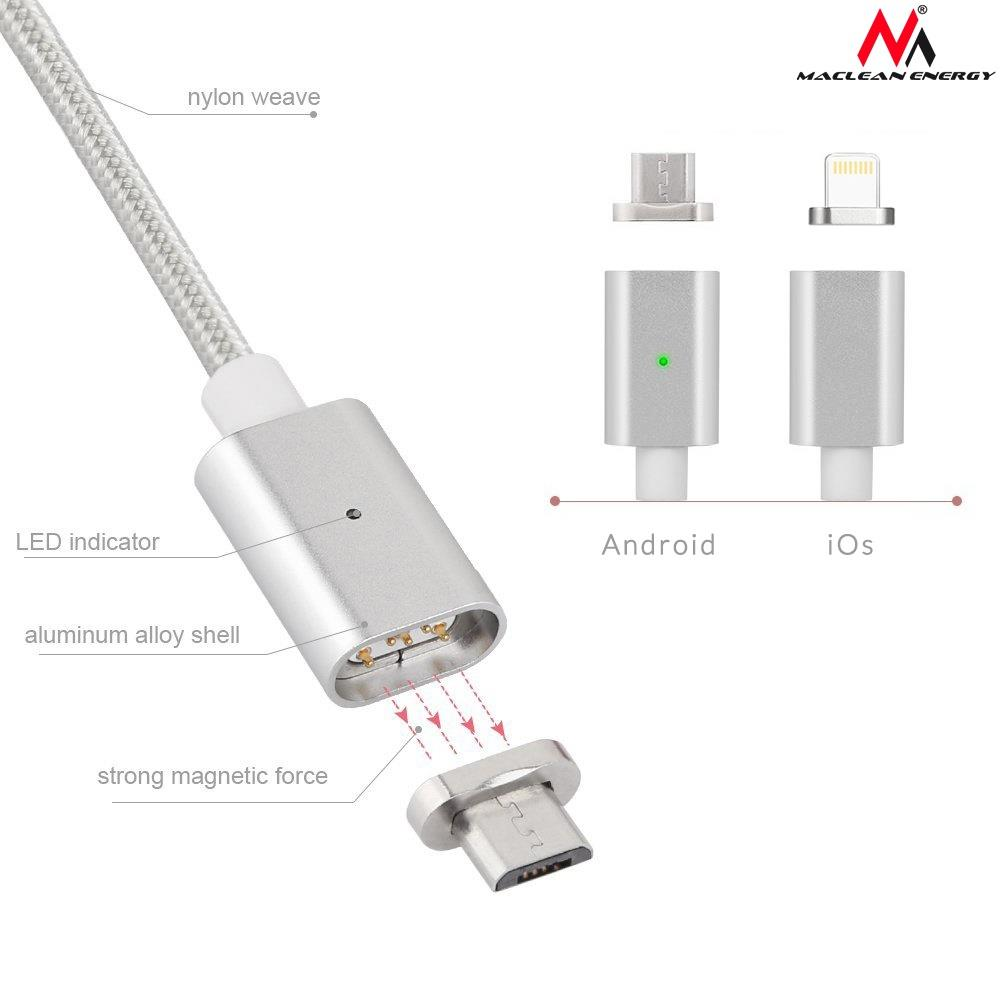 Maclean MCE161 Metal magnetic data cable 1m lightning Quick & Fast Charge silver USB kabelis