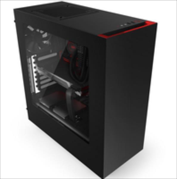 NZXT S340, black/red,  Midl tower with Window, 2x USB 3.0; Watercooling suport: 120/140/280mm; w/o PSU, mATX / ATX Datora korpuss
