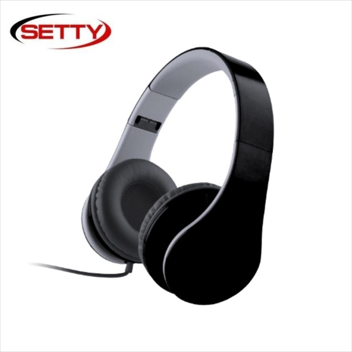 Setty X-Bass Music Austiņas On-ear 40mm Driver Salokāmas 3.5mm plakans 1.6m Vads Melnas austiņas