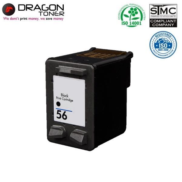 Dragon HP 56 C6656AE Melns XL Tintes Kārtridžs 25ml priekš DeskJet 5145 9650 uc HQ Premium Analogs aksesuārs mobilajiem telefoniem