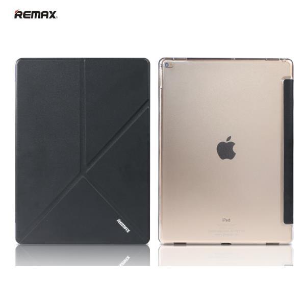 Remax Smart Super Plāns Eko-Ādas Sāniski Atverams maks ar Multi Statīv un  Auto On-Off Apple iPad Air 2 Melns planšetdatora soma