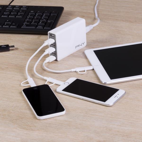 PNY Multi-USB Charger 6 Port White  P-AC-6UF-WEU01-R iekārtas lādētājs