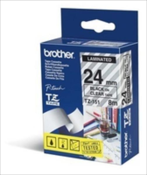 Tape Brother 24mm BLACK  ON CLEAR biroja tehnikas aksesuāri