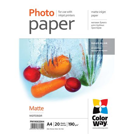 ColorWay Matte Photo Paper, A4, Weight 190 g/m, 20 Sheets foto papīrs