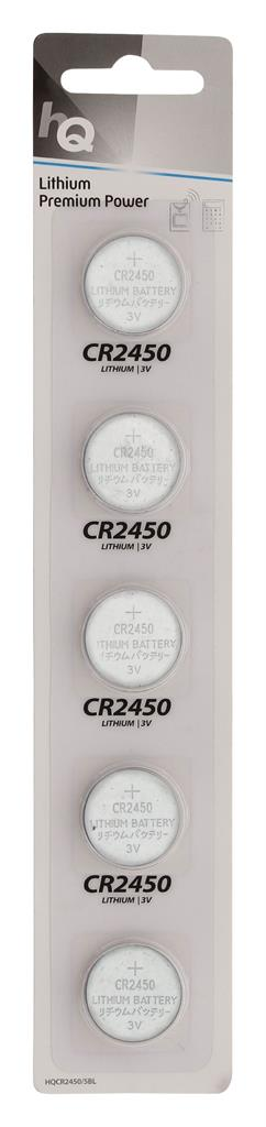 HQ lithium button cell CR2450 battery 3 V, 5-blister Baterija