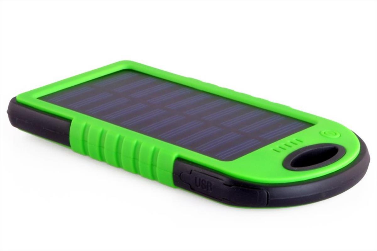 PowerNeed Sunen Power Bank 5000mAh with solar panel 1.2W, green Powerbank, mobilā uzlādes iekārta