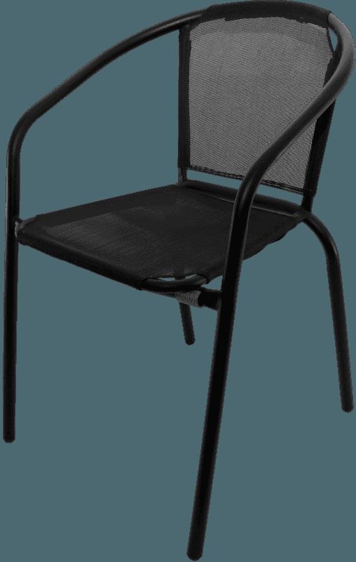 Krēsls metāla ar audumu melna krāsa 54x56x73 Dārza mēbeles