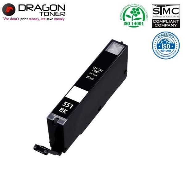 Dragon Canon CLI-551BK Melns Tintes Kārtridžs 15ml priekš Pixma ip7250 uc. 6443B001 HQ Premium Analogs kārtridžs