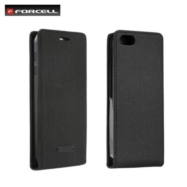 Forcell Canvas Flexi vetikāli atverams maks grāmata Samsung G920 Galaxy S6 Melns