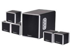 Gembird Multimedia Speaker 5.1 system, 1500W PMPO, wooden housing, black-silver datoru skaļruņi