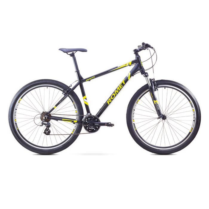 ROMET RAMBLER 29 1 MTB 21.5-XL R29 MELNS/DZELTENS kalnu velosipēds 29