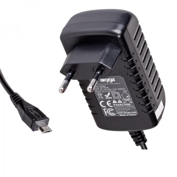 Akyga Power Supply AK-TB-06 5V/2.5A 12.5W micro USB (1.5m) portatīvo datoru lādētājs