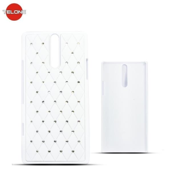 Telone Diamond Super Plāns telefona apvalks ar akmeņiem Sony Xperia S LT26i Balts maciņš, apvalks mobilajam telefonam