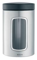 BRABANTIA kārba ar lodziņu, 1,4 l, Matt Steel/FPP  299247 Pārtikas uzglabāšanas piederumi