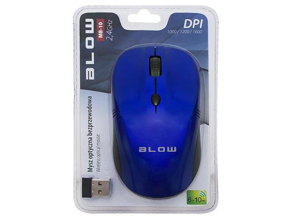 BLOW Optical Wireless Mouse MP-10 USB blue Datora pele