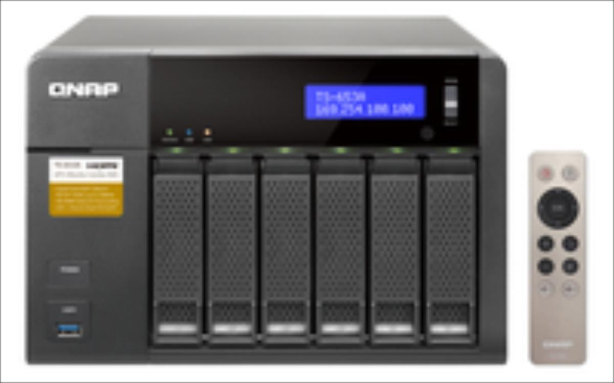 QNAP 6-Bay TurboNAS, SATA 6G, Celeron1.6G Quad Core, 4G RAM, 4x GbE LAN, USB 3.0 Ārējais cietais disks
